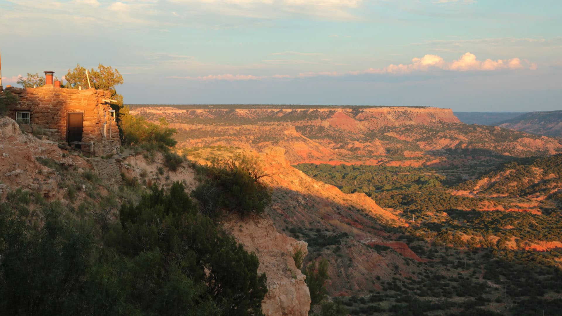 The sun sets on the Lighthouse cabin in Palo Duro Canyon State Park, Texas.