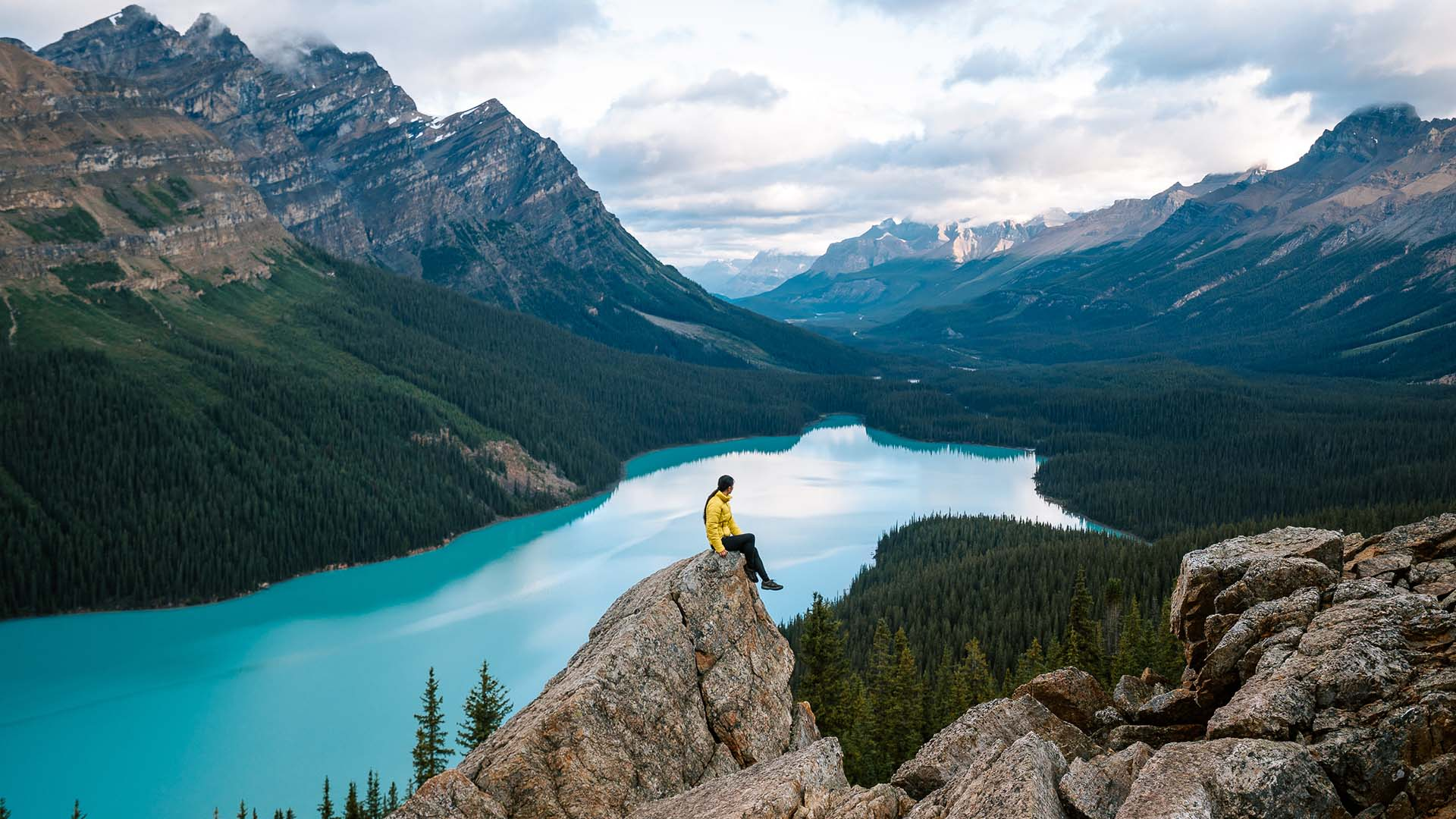 The author enjoys an early morning view of Peyto Lake in Banff National Park.